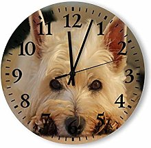 Beautiful Westie Dog Round Wall Clock, Rustic