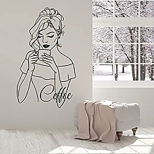 Beautiful Woman Wall Decal Drinking Coffee