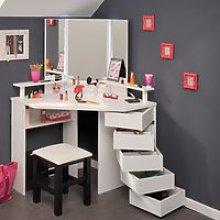 Beauty Bar Corner Dressing Table White