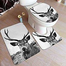 Beauty-Design European Red Stag Bathroom Rug Set 3