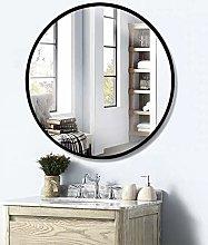 Beauty4U Black Round Mirrors of Glass 50cm Metal