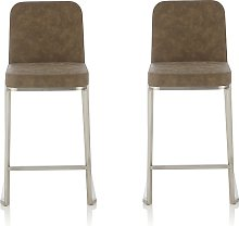 Beckett Retro Bar Stool In Taupe Faux Leather In A