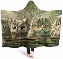Bed Blanket Throw Rug Owl Baby Print Hooded