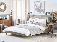 Bed Frame Beige Fabric Upholstery EU Double Size