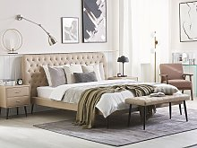 Bed Frame Beige Faux Leather Upholstery EU King
