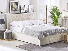 Bed Frame Beige Velvet Upholstery with Storage EU