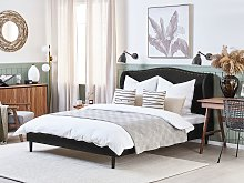 Bed Frame Black Fabric Upholstery Dark Wood Legs