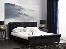 Bed Frame Black Velvet Upholstery Black Wooden