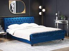 Bed Frame Blue Velvet Upholstery Black Wooden Legs