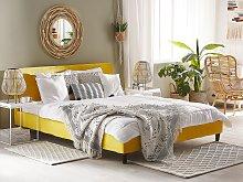 Bed Frame Cover Yellow Velvet for Bed 180 x 200 cm