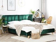 Bed Frame Emerald Green Velvet Tufted Upholstery