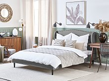 Bed Frame Grey Fabric Upholstery Super King Size