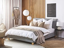 Bed Frame Grey Fabric Upholstery Wooden Legs EU