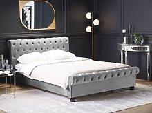 Bed Frame Grey Velvet Upholstery Black Wooden Legs