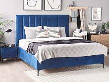 Bed Frame Navy Blue Velvet EU Double Size 4ft6