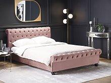 Bed Frame Pink Velvet Upholstery Black Wooden Legs