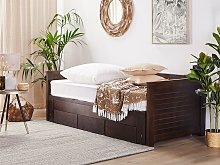 Bed Frame with Storage Dark Brown Rubberwood EU Single to Super King Size 6ft Guest Bed