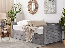 Bed Frame with Storage Grey Rubberwood EU Single to Super King Size 6ft Guest Bed