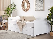 Bed Frame with Storage White Rubberwood EU Single