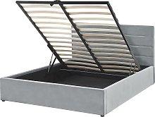 Bed Light Grey Glamour Velvet Upholstery Storage