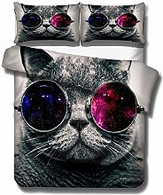 Bed linen 135 x 200 cm bedding set animal 3D cat