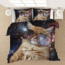 Bed linen 200 x 200 cm bedding set animal 3D cat