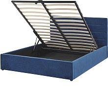 Bed Navy Blue Glamour Velvet Upholstery Storage