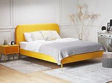 Bed Yellow Velvet Upholstery EU Super King Size