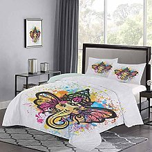 Bedding Cover Oriental Style Animal Portraits on a