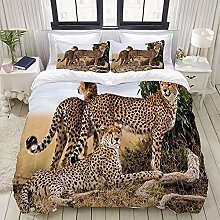bedding - Duvet Cover Set, Cheetahs Mother and Two