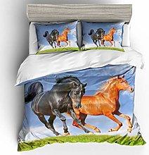Bedding Set Animal Brown Horse 230x220 Cm Printing