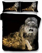 Bedding Set Animal Lion Pattern Black Multicolor