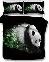 Bedding Set Animal Panda Pattern Black Multicolor