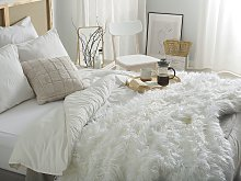 Bedding Throw White 200 x 220 cm Faux Fur Shaggy