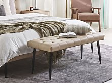 Bedroom Bench Beige Faux Leather Buttoned
