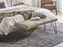 Bedroom Bench Beige Faux Leather Upholstery Metal
