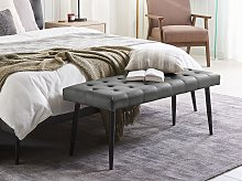 Bedroom Bench Grey Faux Leather Buttoned
