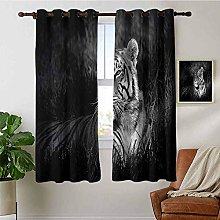Bedroom Curtain Black and White,Bengal Tiger Lying