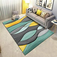 Bedroom Rug,Contemporary Teal And Gray Abstract