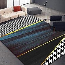Bedroom Rug, Modern Black White Houndstooth