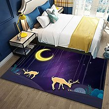 Bedroom Rug,Modern Cartoon Dream Elk Animal Forest