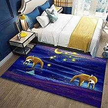 Bedroom Rug,Modern Cartoon Dream Fox Animal Galaxy