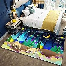Bedroom Rug,Modern Cartoon Dream grove Elk Animal
