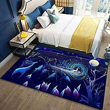Bedroom Rug,Modern Cartoon Fantasy Elk Animal