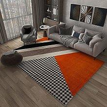 Bedroom Rug, Modern Creative Orange Geometric