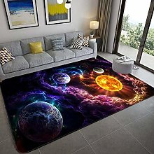Bedroom Rug,Modern Educational Outer Space