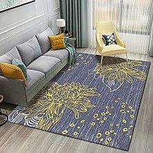 Bedroom Rug,Modern Geometry Golden Line Rich Peony