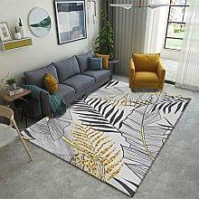 Bedroom Rug,Modern Nordic Black Line Palm Leaf