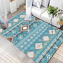Bedroom Rug,Vinatge Boho Ethnic Sky Blue Stripe