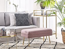 Bedroom Storage Bench Pink Polyester Velvet